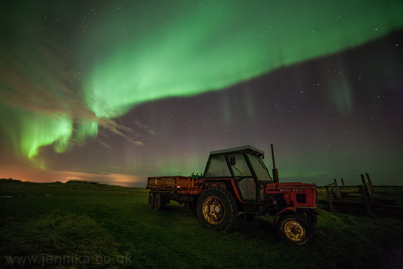 northern lights aurora borealis iceland truck